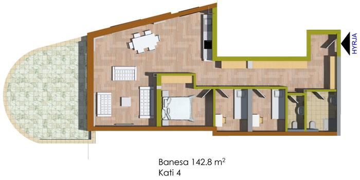 Banesa katërdhomeshe 142.8 m2