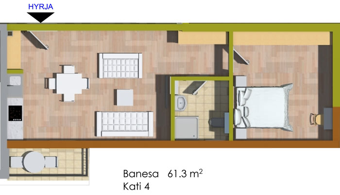 Banesa dydhomeshe 61 m2