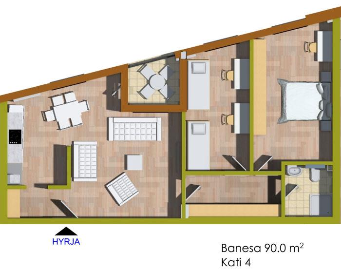 Banesa tridhomeshe 90 m2