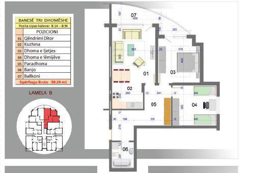 Banesa tridhomeshe 98 m2