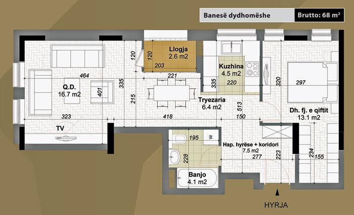 Banesa dydhomeshe 68 m2