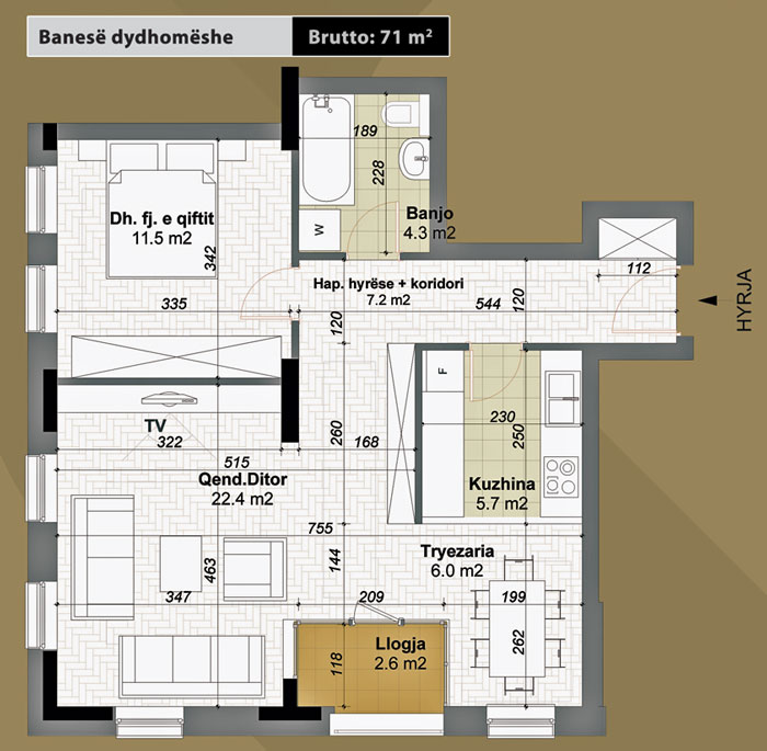 Banesa dydhomeshe 71 m2