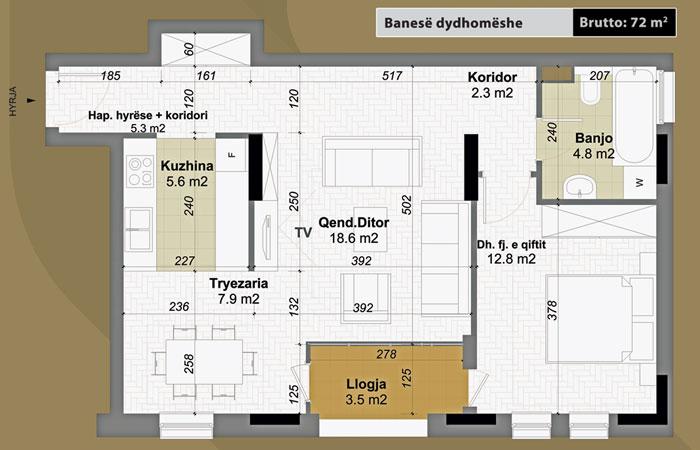 Banesa dydhomeshe 72 m2