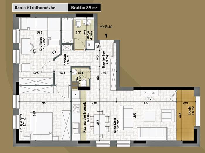 Banesa tridhomeshe 89 m2