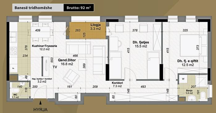 Banesa tridhomeshe 92 m2