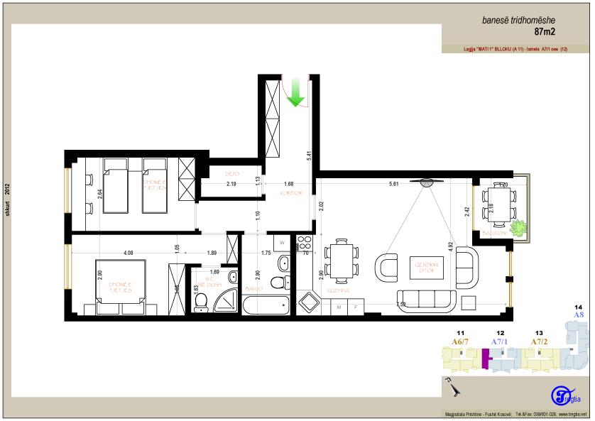 Banesa tridhomeshe 87 m2
