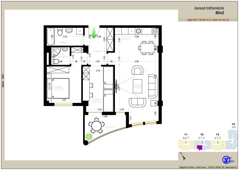 Banesa tridhomeshe 80 m2