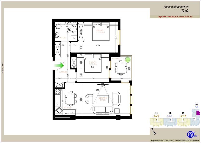 Banesa tridhomeshe 72 m2