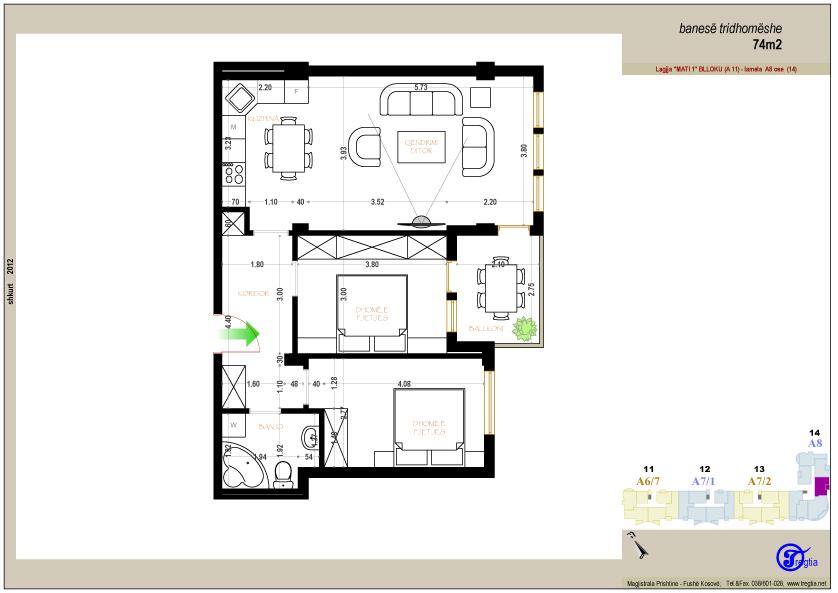 Banesa tridhomeshe 74 m2