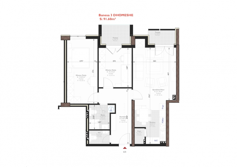 Tipi E - banese tridhomeshe 91.60 m2