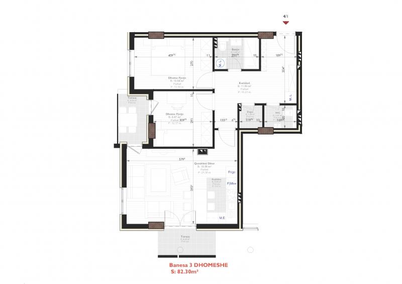 Tipi B - banese tridhomeshe 82.30 m2