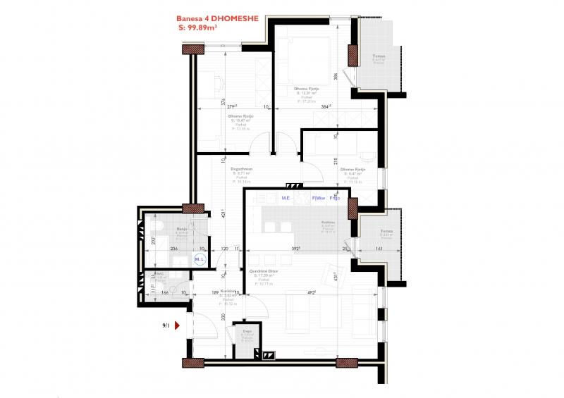Tipi A - banese katerdhomeshe 99.89 m2