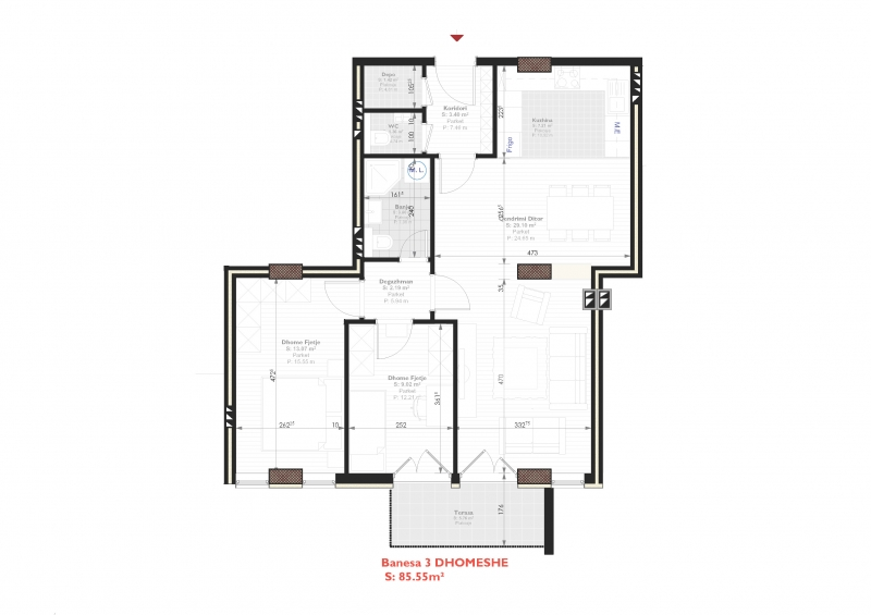 Tipi C - banese tridhomeshe 85.55 m2